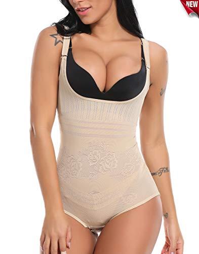 SLIMBELLE Damen Shapewear Body Figurformender Formende Shaping Bodysuit Taillenformer Unterwsche Miederbody Bauchweg Schwarz-Beige-XL