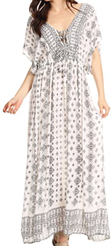Sakkas Sofia imprimé aztèque V-cou Caftan Summer Long Maxi Dress Noir