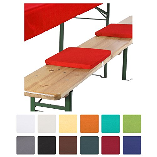 Beautissu® 4er Set Comfort XS gepolsterte Bierbankkissen 25x36x2 cm Kissen Sitzkissen mit Befestigungsband - rot
