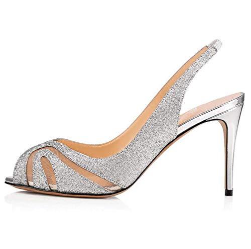 HYLFF Damen Strass Stiletto High Heel Spitz Hochzeit Prom Abendkleid Slingback Satin Gerichte Pumps Schuhe,Silver,36EU