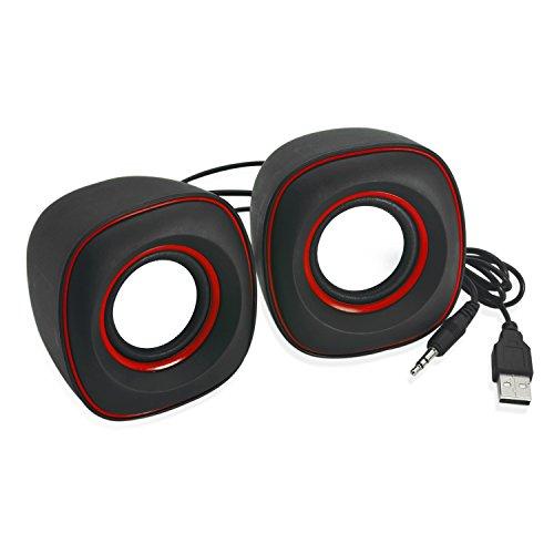 Incutex PC Multimedia Lautsprecher 2.0, tragbare Audioboxen, portable speaker in schwarz-rot