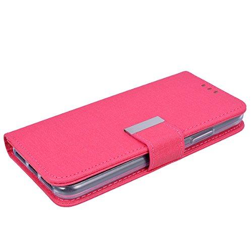 Custodia per iPhone X, VemMore Case 2 in 1 Staccabile Portafoglio in Pelle PU Flip Cover con Multifunzionale Stent Slot Supporto per Porta Carte di Credito Copertura di Fibbia Magnetica del Cornice De Rosa Rossa