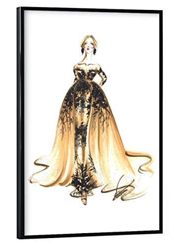 artboxONE Poster mit schwarzem Rahmen 30x20 cm Fashion Beige und Schwarzes Kleid - Bild Mode Mode Haute Couture Couture-kleid Schwarz