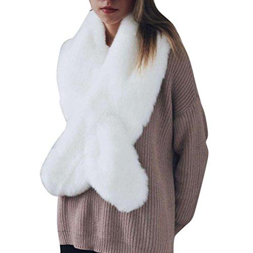 lz Schal,FORH Warm Kunstfell Kragen Pelzkragen Shawl Stole Mode Stil Nachahmung pelz Schal (weiß) ()