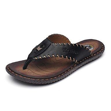 Slippers & amp da uomo;Primavera Estate Comfort pelle bovina informale all'aperto piani del tallone sandali Walking sandali US7 / EU39 / UK6 / CN39
