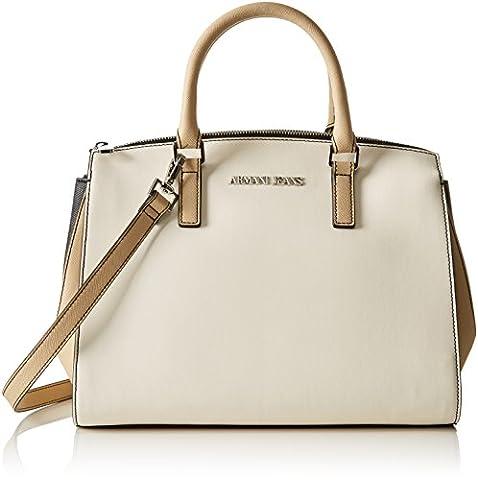 Armani Jeans Women's 9221777P758 Top-Handle Bag multi-coloured Mehrfarbig (BIANCO/BEIGE/NERO 43310)