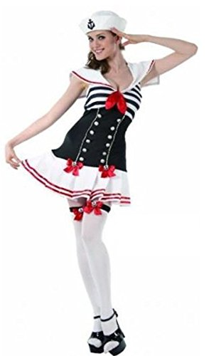 Sailor Erwachsene Für Pinup Kostüm - Sofias Closet Damen Kostüm Sexy Gestreift Darling Pin Up Sailor Retro Anker Fancy Kleid wf3344