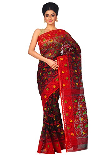 RLBFashion Women's Cotton Silk Handloom Dhakai Jamdani Saree (Black & Red)