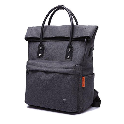 Zaino Antifurto Zaino PC Portatile Roll-Top Impermeabile Backpack Casual Zaino in Nylon Daypack Elegante per Uomo Studente Donna Lavoro, Viaggio, Affari con Porta di Ricarica USB