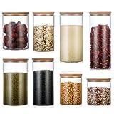 Demarkt voorraaddozen van glas met bamboeafdekking voor keuken