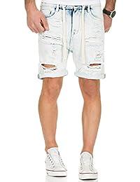 Urban Surface Jogg Jeans Shorts kurze Hose Bermuda Herren Denim Sweatpants Joggjeans Vintage Used Look