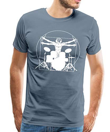 Spreadshirt Vitruvianischer Schlagzeuger Drummer Männer Premium T-Shirt, XXL, Blaugrau