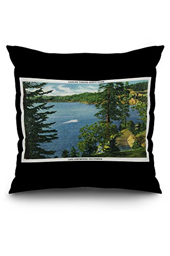 lake-arrowhead-california-view-towards-the-north-shore-20x20-spun-polyester-pillow-case-black-border