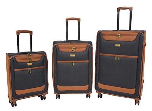 Set von 3 Faux Wildleder Koffer 4 Rad Leichtgewicht Weich Fall Erweiterbar Gepäckwagen HLG133 (Marineblau) (Fall Erweiterbar)