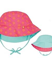 LÄSSIG Bucket Hut, Sonnenhut zum Wende Hut für Kinder Mädchen, Sonnenschutzhut peach stars,Inf/6-18mo