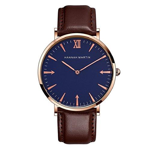 L'ananas-Uhren Herren Uhren,L'ananas Anolog Quarz Einfacher Leser Personalisiert Pfeile PU Leder Gurt Armbanduhren Geschenk für Freund Wristwatches (Braun+Blau)