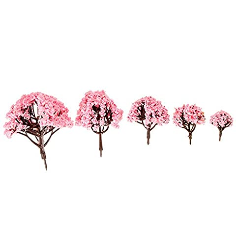Bluelover 5 Size Pink Cherry Trees Fairy Garden Ornament Plant