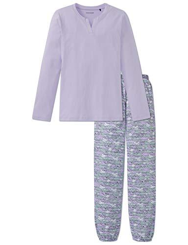 Schiesser Mädchen Anzug lang Zweiteiliger Schlafanzug, Blau (Lavendel 809), 152 (Herstellergröße: S)