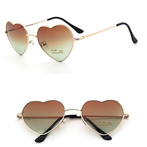 MJDABAOFA Sonnenbrillen,Sonnenbrille Frauen Marke Fashion Designer Brille Liebe Herz Style Vintage Sommer Retro Gold Frame Braun Getönten Sonnenbrille Schattierungen