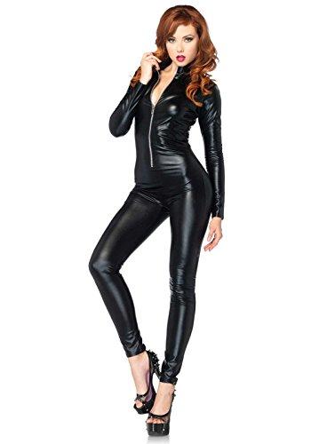 Leg Avenue 85047 - Wet Look Catsuit Kostüm, Größe S (EUR 34-36), Schwarz, Dessous Damen Reizwäsche (Erwachsenen Schwarzen Catsuit Kostüme)