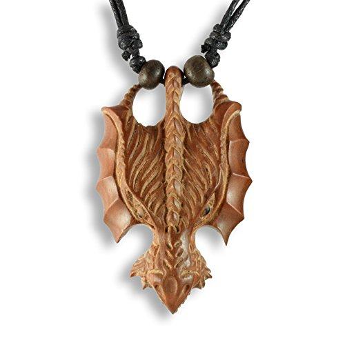ISLAND PIERCINGS Anhänger aus Sawo Holz Drachen Halskette längenverstellbar N255