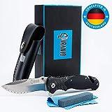 Piranjo Klappmesser - Extra scharfes Messer Set mit Tasche, Schleifstein & Tuch | Taschenmesser mit D2 Edelstahlklinge | Mit Glasbrecher-Funktion