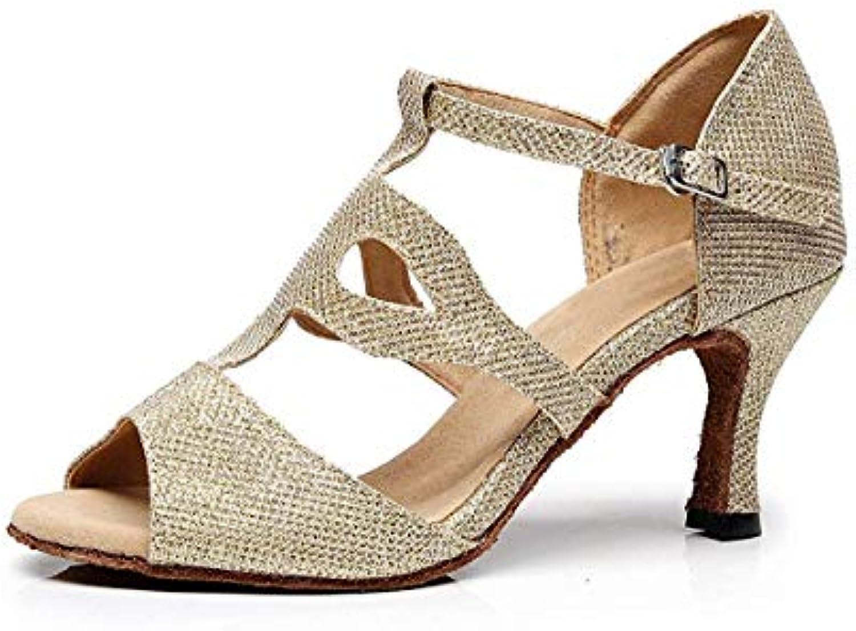 ZHRUI TJ7135 Ladies Girl T-Strap Glitter oro Salsa Ballerine Latino Sandali UK 4 (Coloreee   -, Dimensione   -) | Conosciuto per la sua eccellente qualità  | Uomo/Donna Scarpa