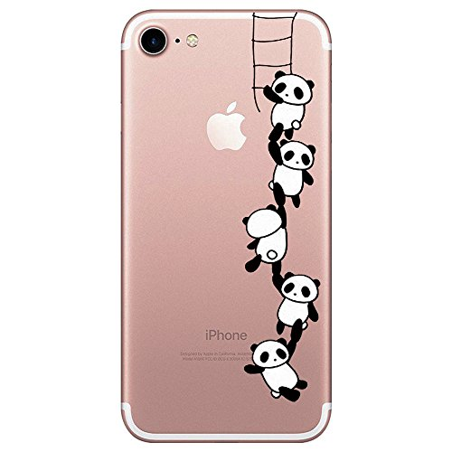 iPhone 7/8 Hülle, transparentes TPU Case Silikon der Tiere Backcover Handyhülle kreatives Design Panda Muster bedecken zurück für Apfel iPhone 8/7 Case Cover (Viele Bären Aberdeen)