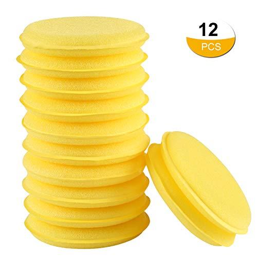 LIHAO 12x Polierschwämme Wachs Schwämme Weich Universalreiniger Waxing Schwamm für Polieren Reinigung Waschen