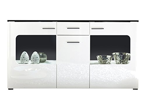 Furnline Living Room Lucky Cabinet Sideboard, Black/High Gloss White