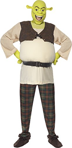 Damen Herren Disney Shrek UND Fiona Paar Kombo Halloween Fasching Karneval Kostüm - Grün, Damen 44-46 & Herren L