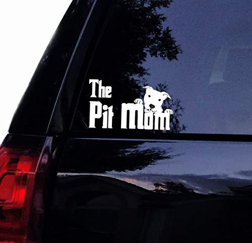 Celycasy The Pit Mom-Aufkleber - Pate Style Design - Peeking Pitbull - Bully Dog Pit Bull Vinyl-Aufkleber für Auto, Fenster, Wand Design Pate