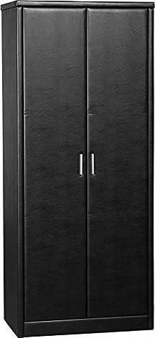 Prado Kleiderschrank mit 2in braun Kunstleder schwarz (Natural Wood Cabinet)