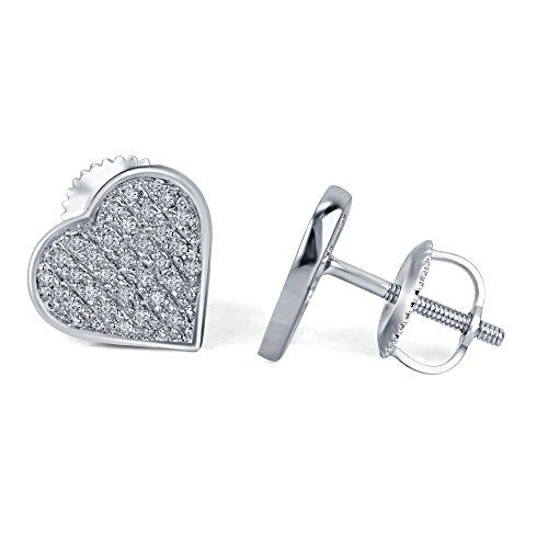 lilu Jewels Lovely Forme de cœur blanc rond coupe véritable diamant en argent sterling 925boucles d'oreille à tige pour fille et femme White Platinum Plated