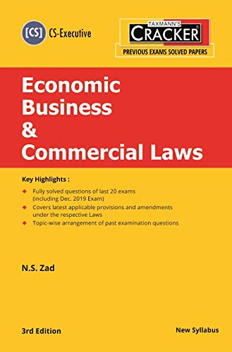 Taxmann's Cracker-Economic Business & Commercial Laws (CS-Executive-New Syllabus)(3rd Edition 2020)