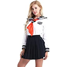 FEESHOW Fille Femme Uniforme Scolaire Deguisement Écolière Japonaise  schoolgirls Cosplay Costume Marin Rayures Jupe Plisée Carnaval 0e9102970dd1