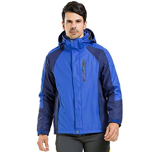 CIKRILAN Homme 3 en 1 Coupe-Vent Imperméable Respirante Manteau Outdoor Sport Veste de Camping Randonnée Escalade (X-Large, Bleu)