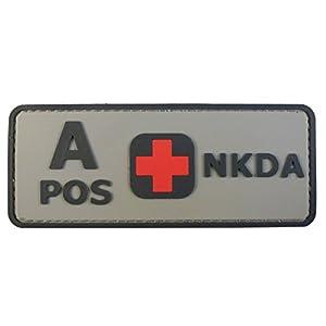 ACU Gray A POS Groupe Sanguin NKDA Combat Tactical PVC Gomme 3D Velcro Écusson Patch