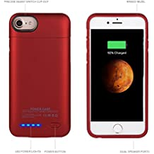 3000mAh Akku Hülle Powercase für iPhone 6/iPhone 6s/iPhone 7/iphone 8 Smart Power Case Automatisch Magnetisch Absorption Externe Batterie Backup Case 4.7 Zoll (rot)