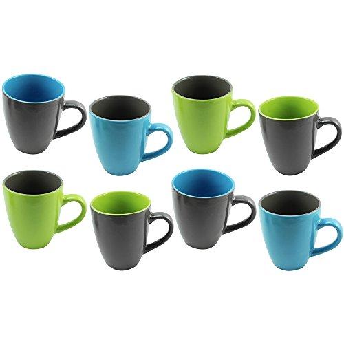 COM-FOUR® [!!!B-WARE!!!] 8x Kaffeebecher, 325 ml, Steingut, Kaffeetasse, Kaffeepott, in verschiedenen Farben (08 Stück - bunt) (8 Stück Frühstücks-set)