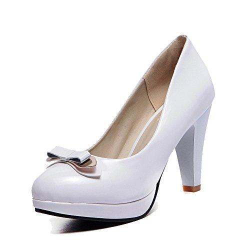 VogueZone009 Femme Verni Rond à Talon Haut Tire Couleur Unie Chaussures Légeres Blanc