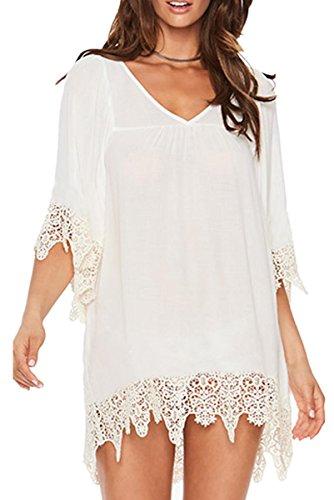 e0e5e3733e6d L-Peach Damen Sommer V-Ausschnitt Spitze Quaste Tunika Bikini Cover up  Sommerkleid One Size
