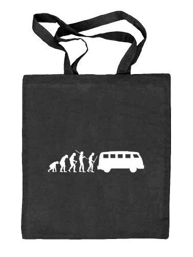 Shirtstreet24, EVOLUTION KULT BUS, Stoffbeutel Jute Tasche (ONE SIZE) schwarz natur