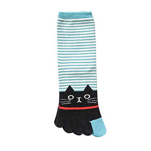 (TPulling Bunte Socken Damen Witzige Socken Weihnachten Deko Schneemann Rentier Winter Frauen Mädchen Katze Print Multicolor Bar Zehensocken fünf Finger Socken Baumwolle)