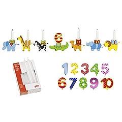 Idea Regalo - Goki Trenino candeline da compleanno con animaletti, numeri 1-10, 10 candele bianche - –Die LuLuGoS