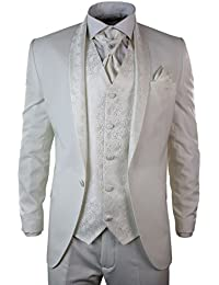 Costume Smoking 5 Pièces Blanc Crème Homme Marriages & Grandes Occasions Coupe Slim Brillants