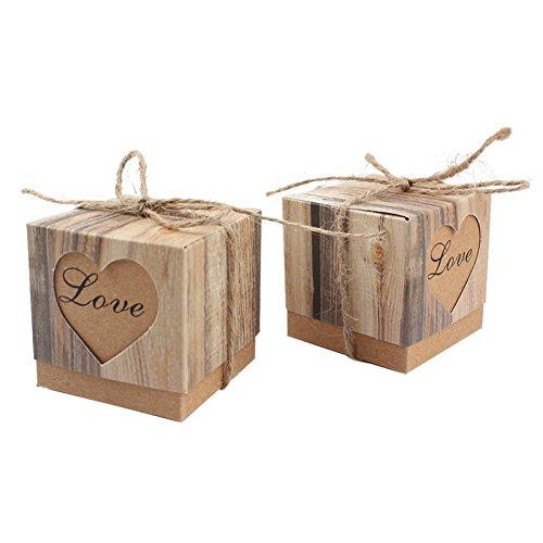50/viel Herz Romantik Kraft Papier Candy, Box für Hochzeit Dekoration Vintage Hochzeit Geschenke...