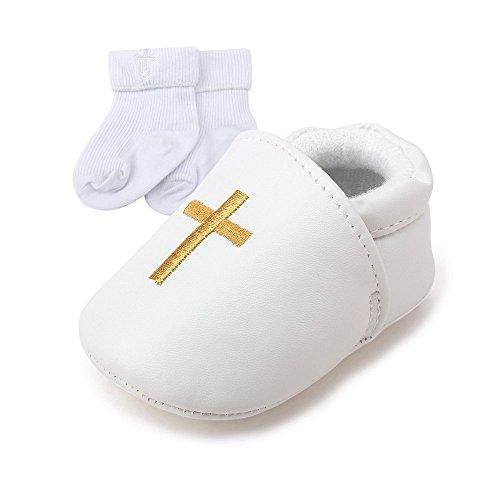 DELEBAO Baby Taufe Schuhe Babyschuhe Taufschuhe Lauflernschuhe Kinderschuhe Weiß Weiche Sohle Leder PU Kleinkind (Schuhe-1&Socken,6-9 Monate)