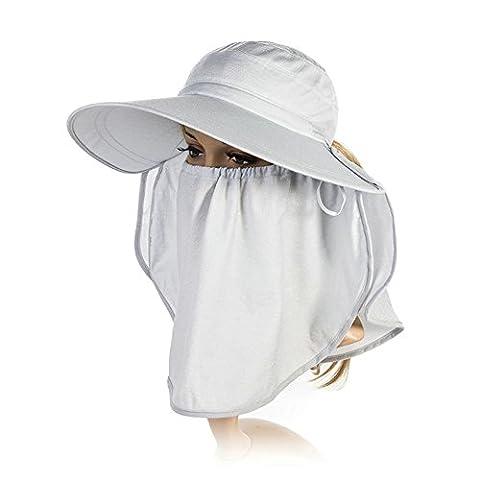 Siggi Femme Capeline Pliable Chapeau de Soleil Réglable Masque Large Bord Echarpe Eté Jardin UPF Gris