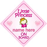 Little Princess On Board Personalised Car Sign New Baby Girl / Child Gift / Present